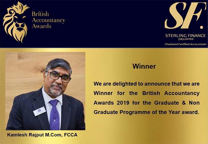Sterling Finance Wins British Accountancy Award 2019