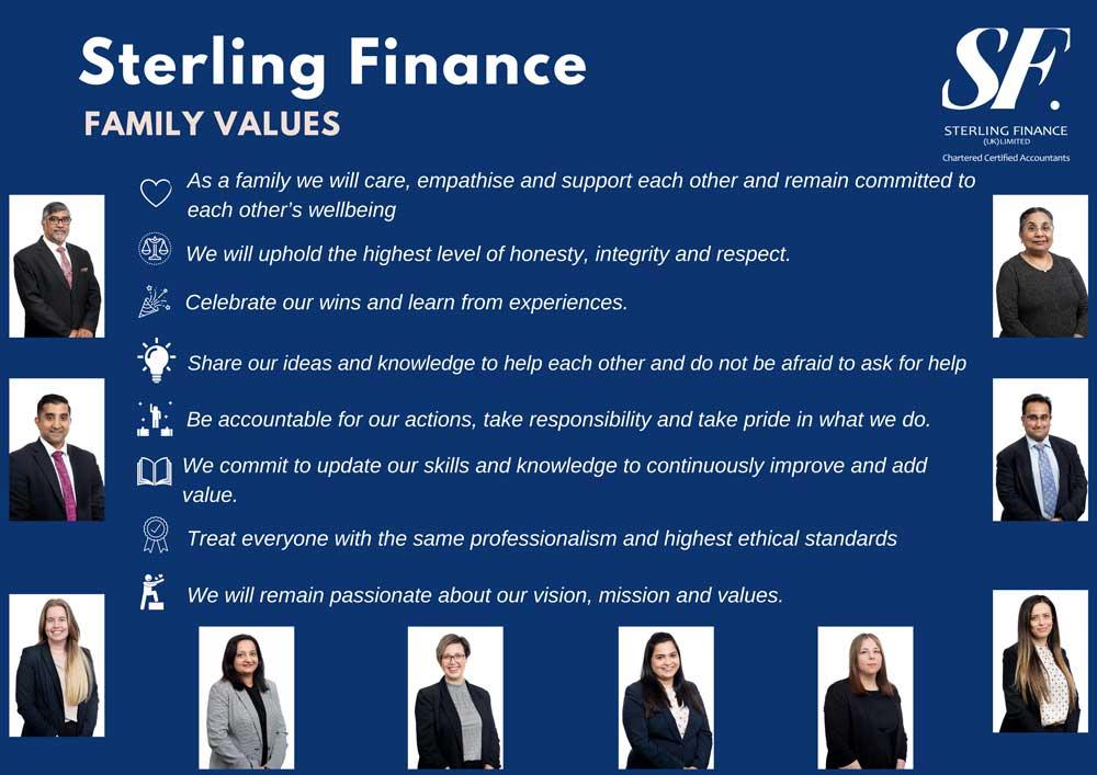 Sterling Finance family values
